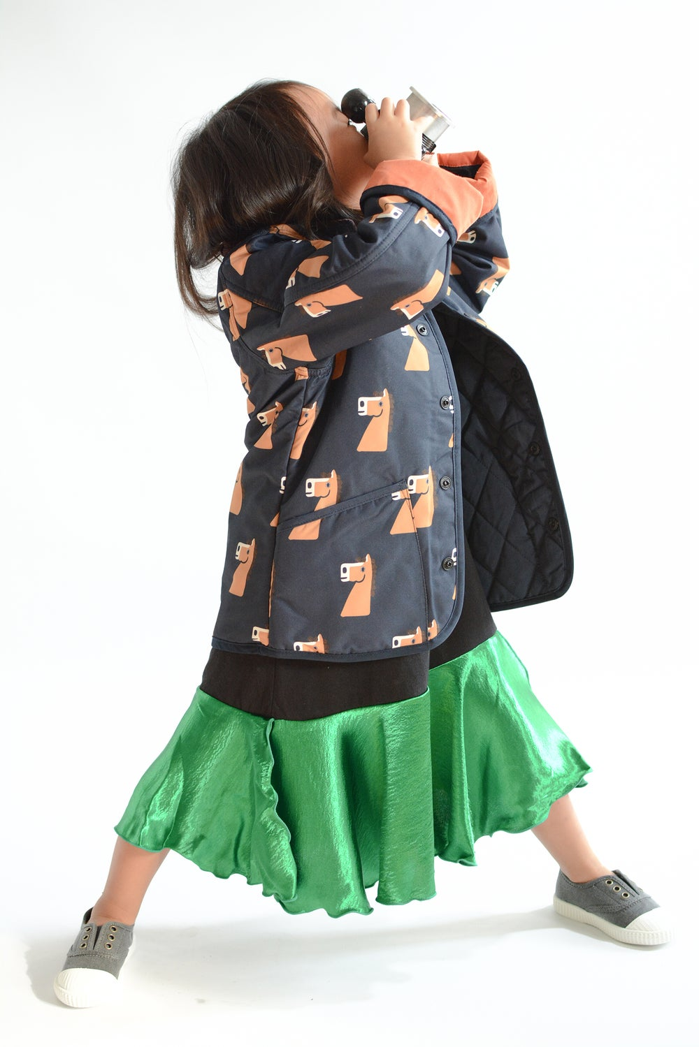 Multi pony quilted jacket