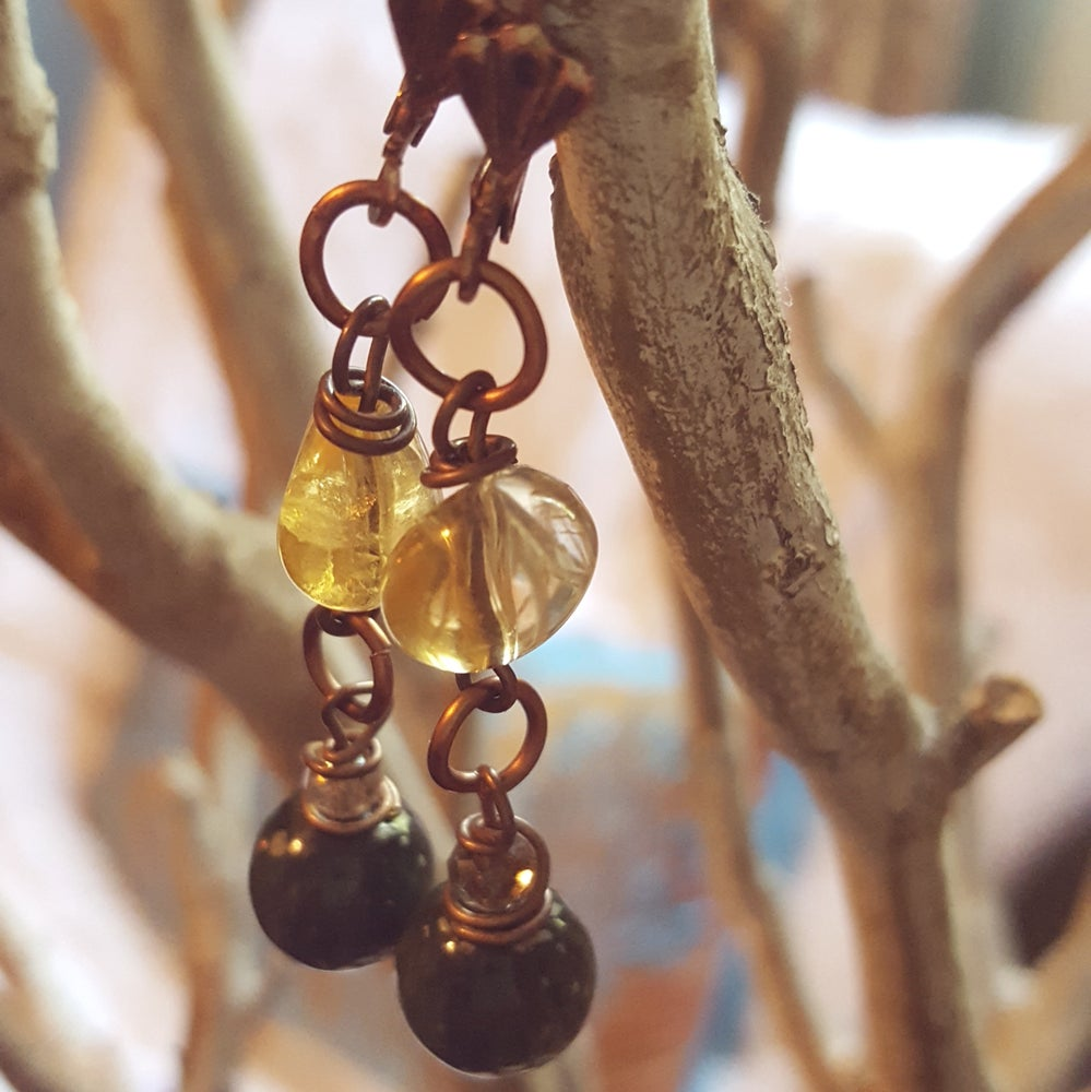 Image of Citrine & Seraphinite earrings
