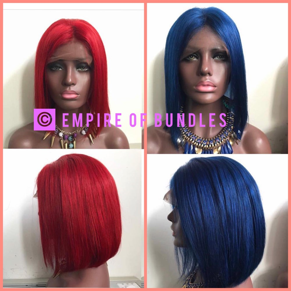 Image of Lace front Blue & Red wig unit