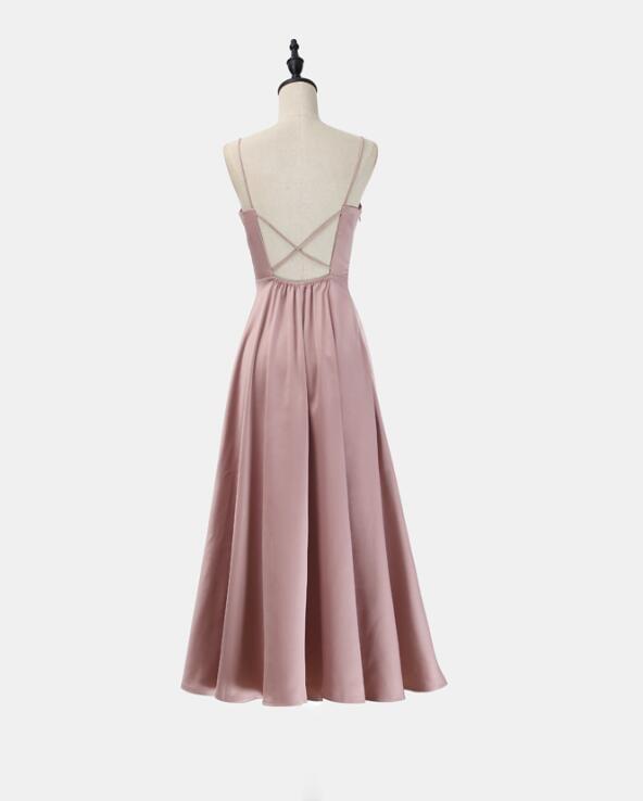 Simple Pretty Tea Length Women Party Dresses,Cross Back Dresses, Stylish Formal Dress