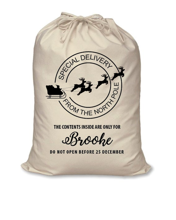 personalised santa sack special delivery calico just because
