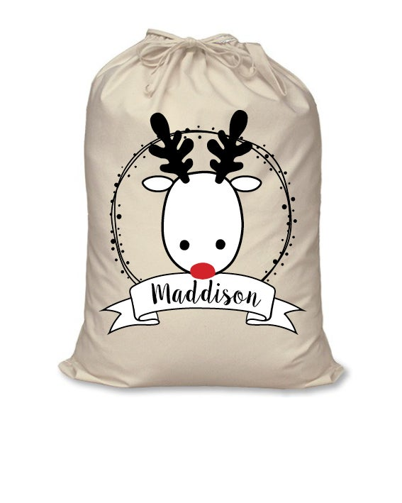Image of Personalised Christmas Santa Sack - 'Reindeer Name' - calico