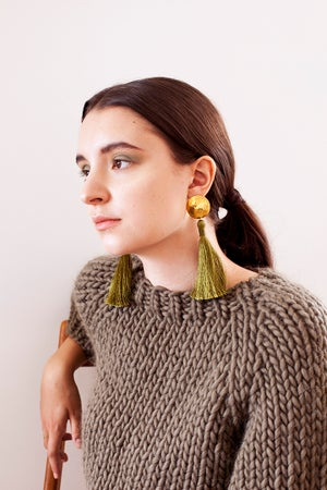 Image of Kingston Chunky hand knit Sweater of Peruvian wool (shown in dusty green-more colours)
