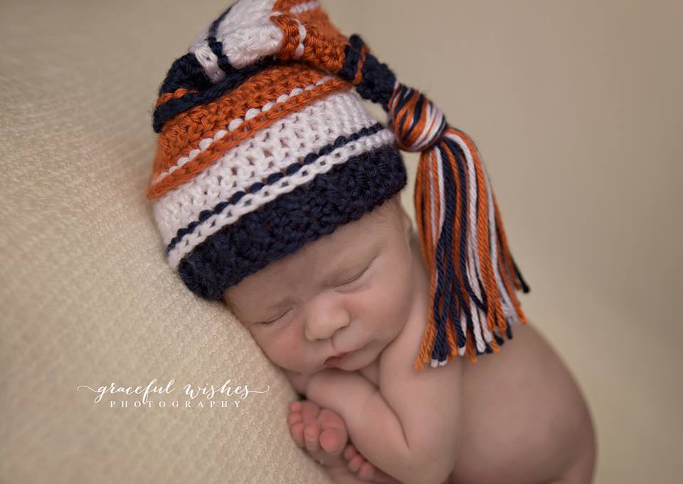 Image of Navy, Pumpkin and White Tassel Hat