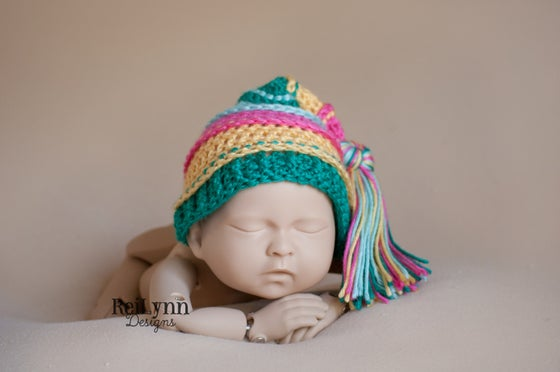 Image of Hot Pink, Yellow, Teal and Aqua Tassel Hat
