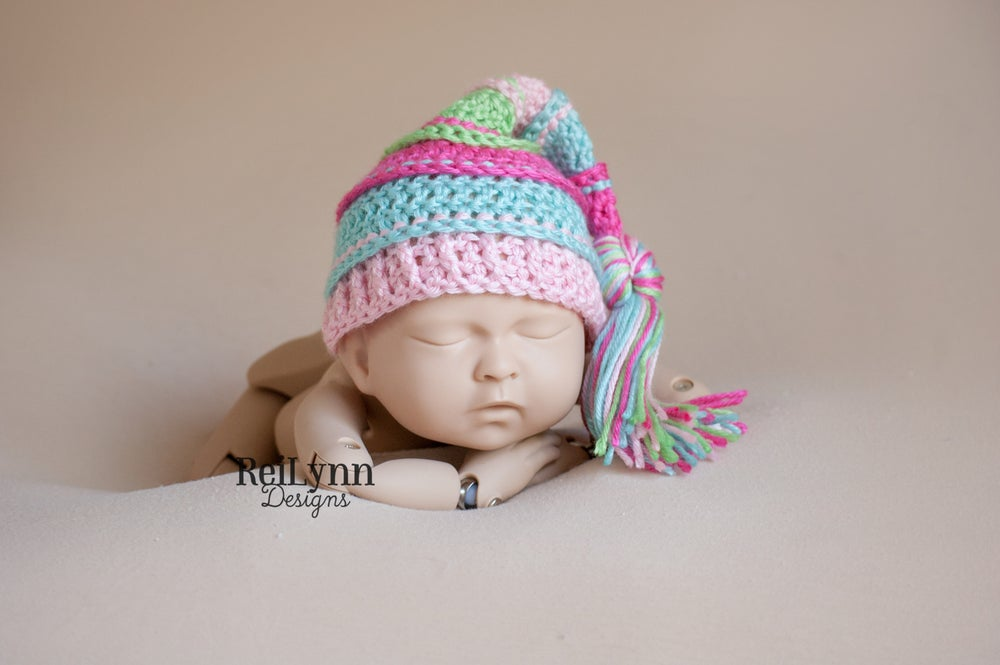 Image of Hot Pink, Aqua, Pink and Lime Tassel Hat