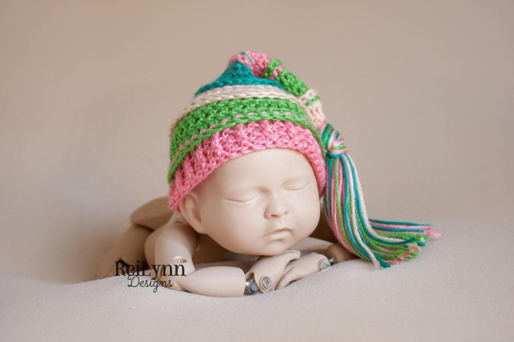 Image of Peach, Green, Coral and Teal Tassel Hat