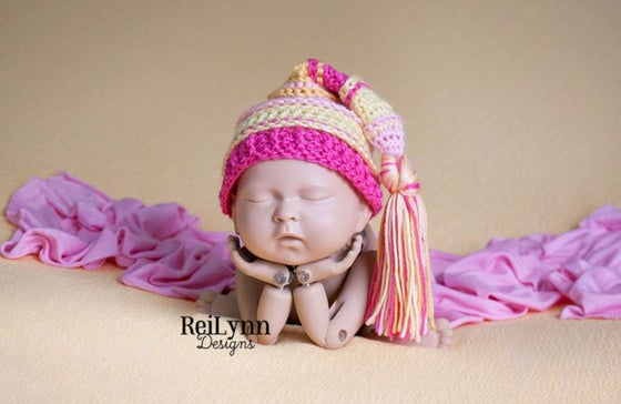 Image of Pink, Baby Maize, Hot Pink, Yellow Tassel Hat