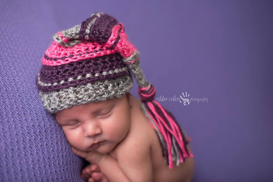 Image of Gray, Hot Pink, Plum Tassel Hat