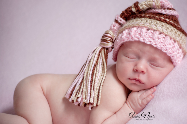 Image of Pink, Brown, Bone Tassel Hat