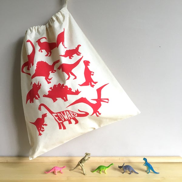Image of Personalised Dinosaur Drawstring Tote