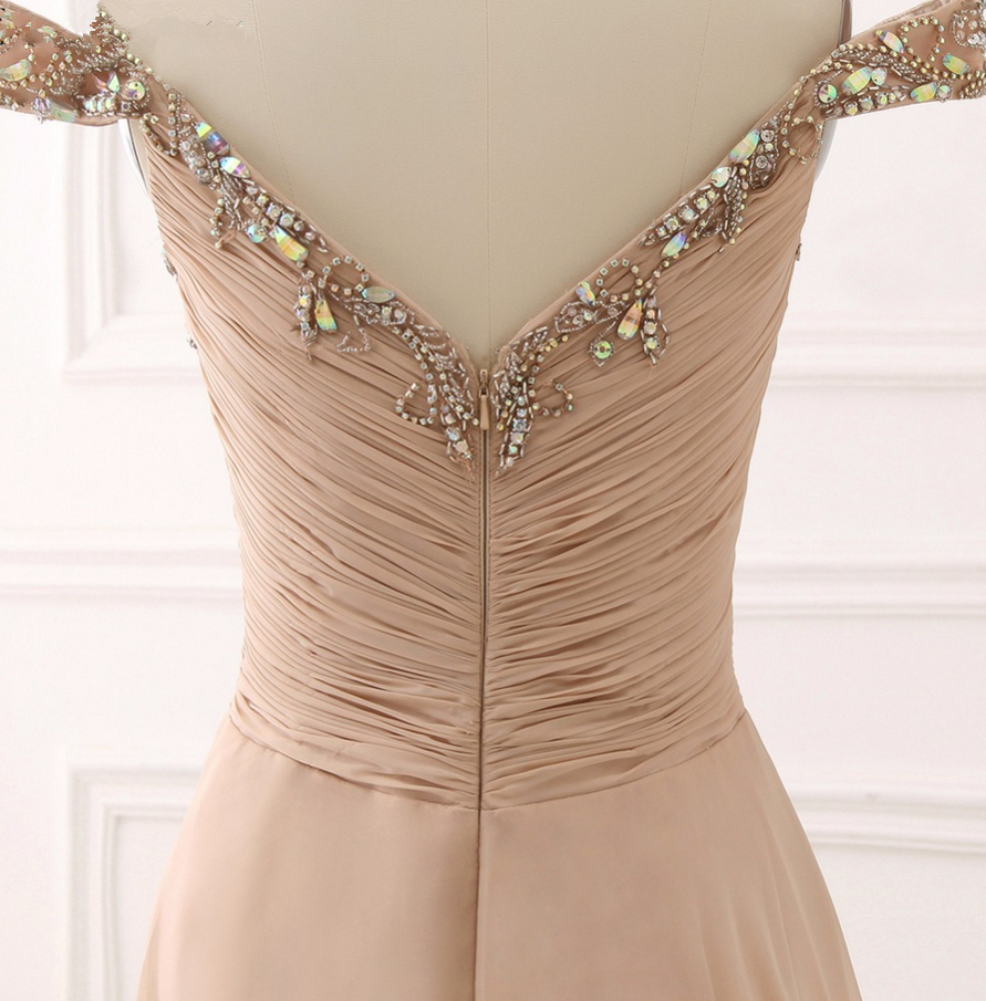 Champagne Sweetheart Off Shoulder Beaded and Sequined Prom Dresses, Long Prom Dresses 2018