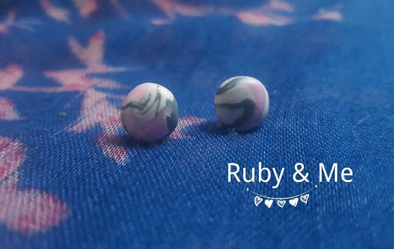 Image of Marble studs (Pink, Grey, & White)