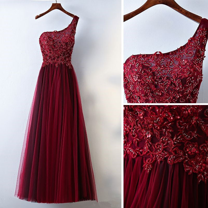 Gorgeous Dark Wine Red One Shoulder Prom Dresses 2018, Burgundy Long Lace and Tulle Dress