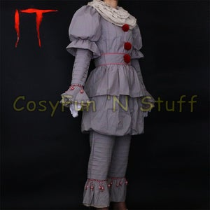 Image of Stephen King's It Pennywise Full Cosplay Costume Halloween Suit