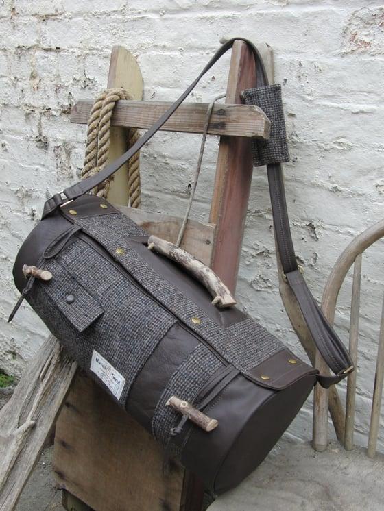 Image of Harris Tweed Weekend Bag in Brown and Grey Barleycorn