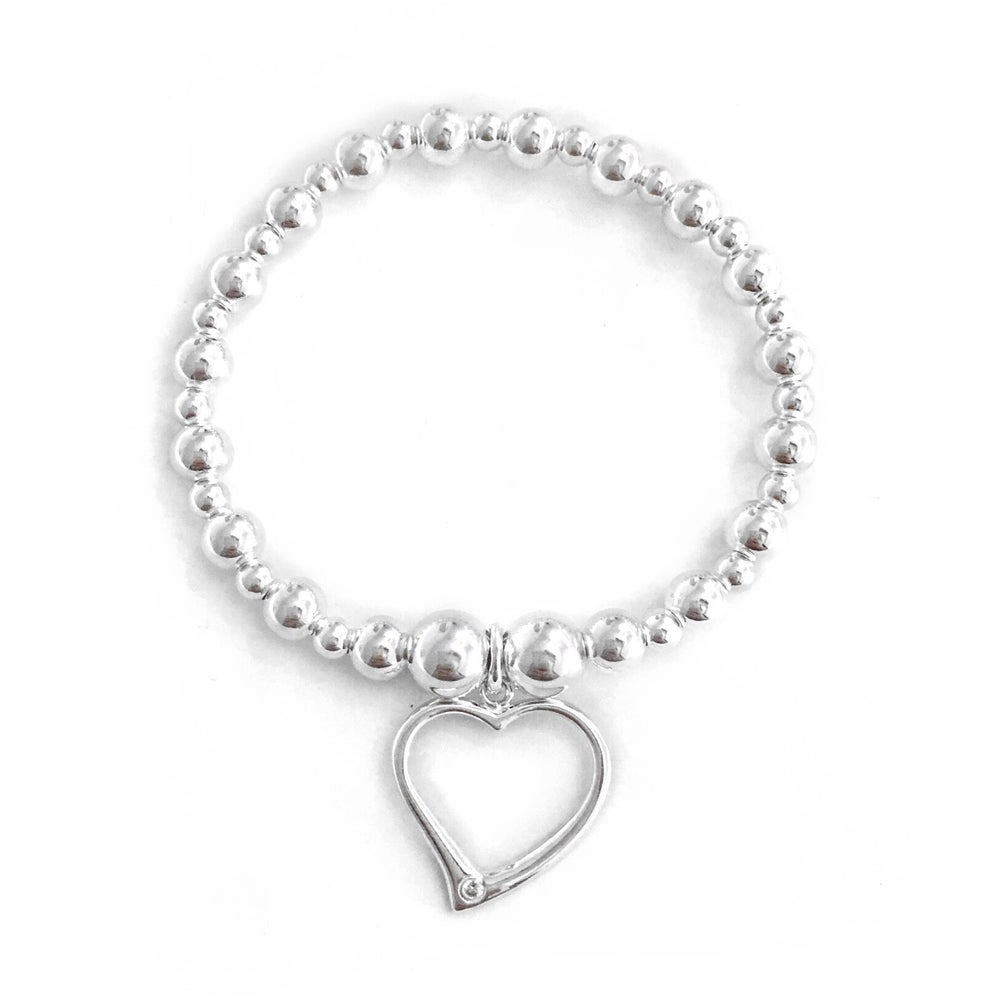 Image of Sterling Silver Chunky Heart Bracelet