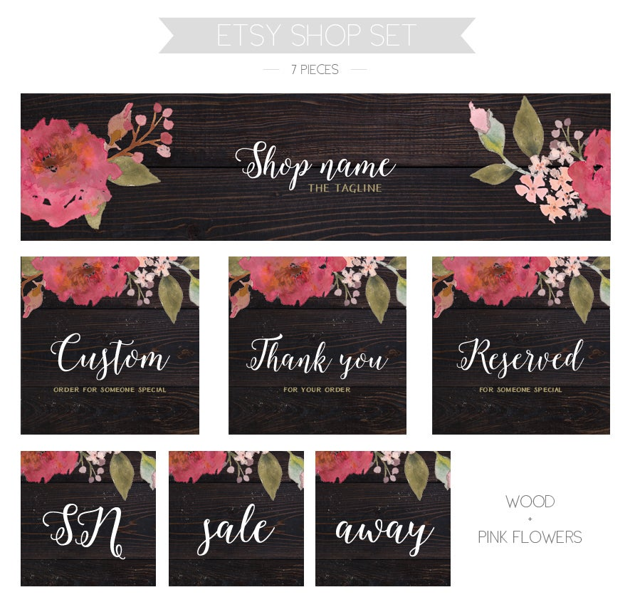 Image of Etsy shop set - pink flowers + wood