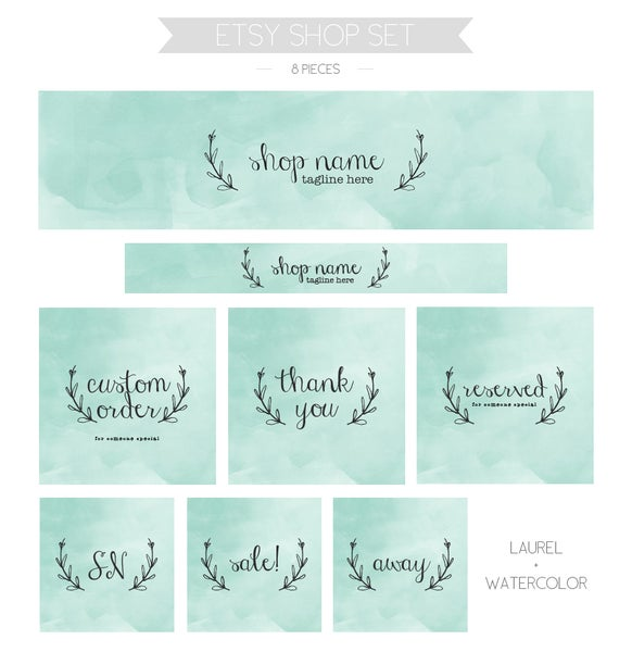 Image of Etsy shop set - mint laurel