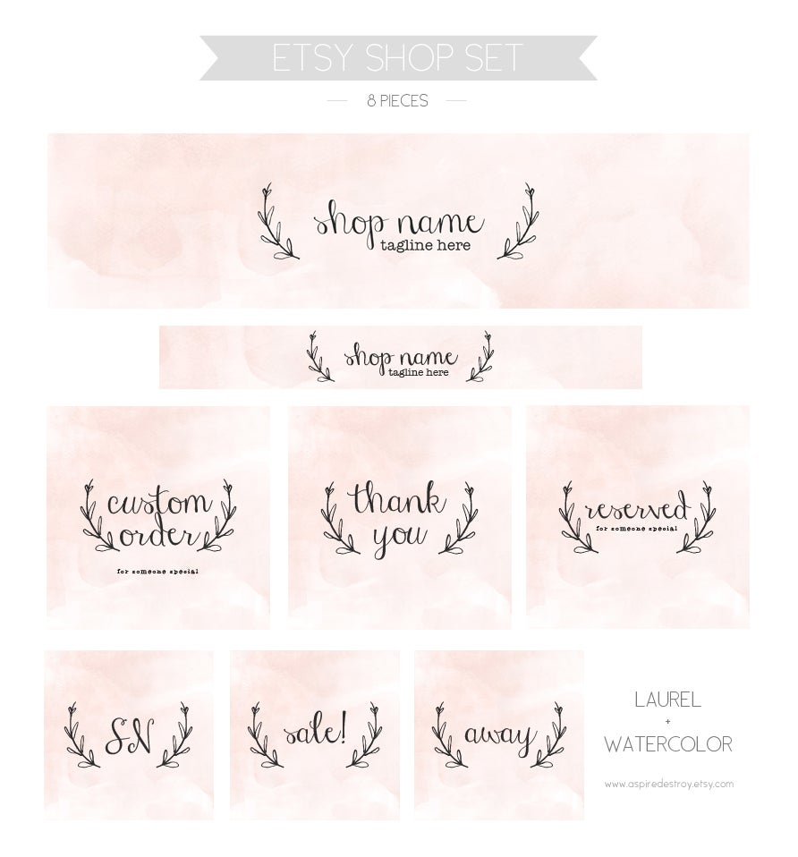 Image of Etsy shop set - pink laurel