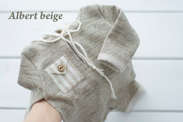 Image of Albert hooded romper / two sizes / 5 colors