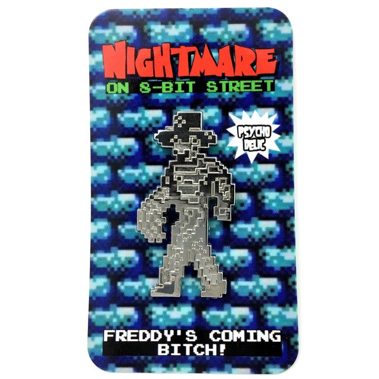 Image of 8-bit Freddy SILVER (Enamel Pin)