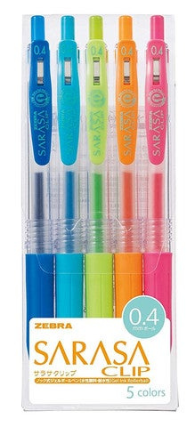 Image of Zebra Sarasa Clip Gel Pen 5 Color Set - 4mm