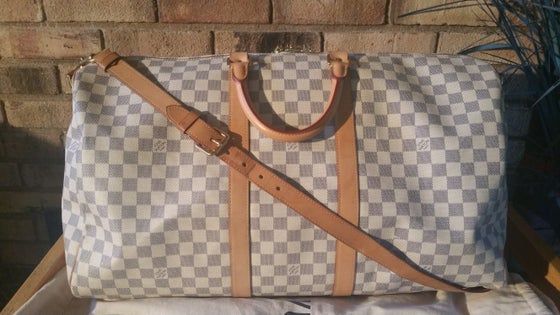 Image of Louis Vuitton Damier Azur Keepall Bandouliere 55