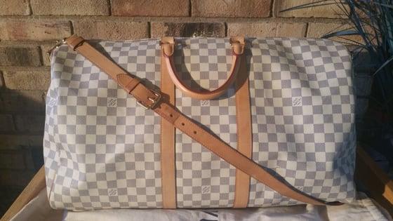 Image of Louis Vuitton Damier Azur Keepall Bandouliere 55