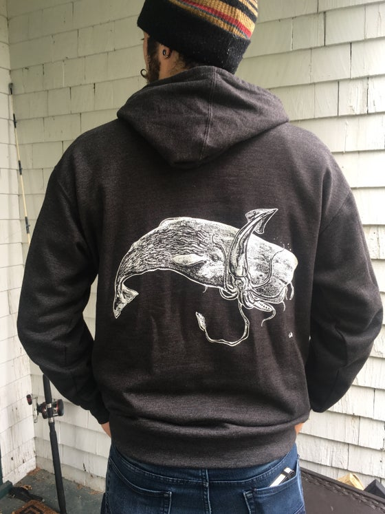 Image of SPERM WHALE SQUID BATTLE HOODED SWEATSHIRT