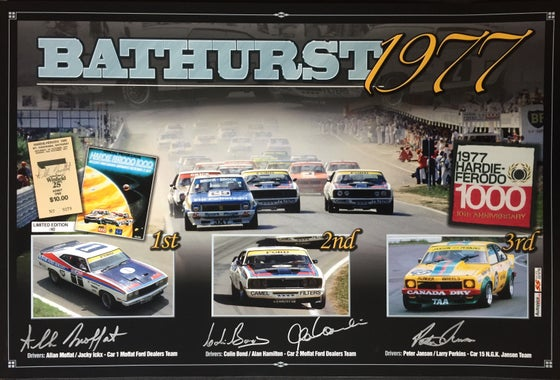 Image of Bathurst 1977 HF 1000. 40th Anniversary print. Autographed by 4 drivers.