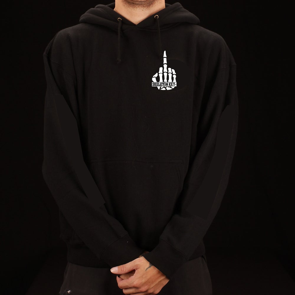 Image of Size Small Middle Finger Logo- Black Pullover L/S Hoodie