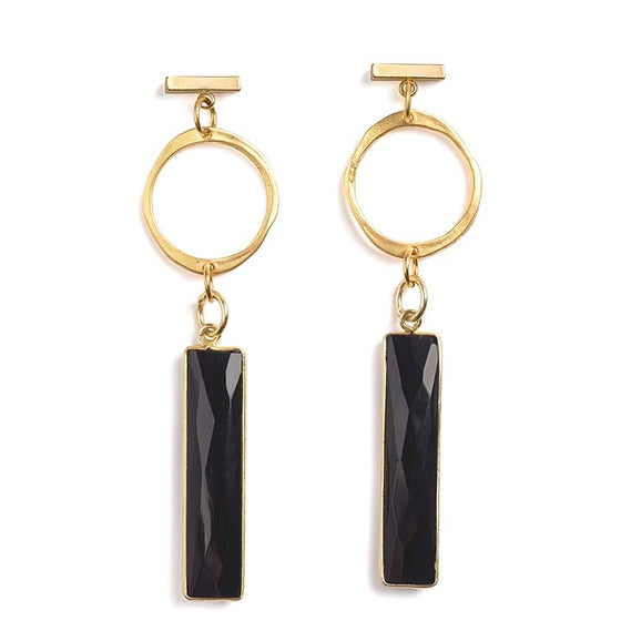 Image of HALO & ONYX BAR EARRINGS