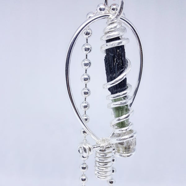 Image of Fully Wrapped Tourmaline/Moldavite/Herkimer Diamond Silver Ankh