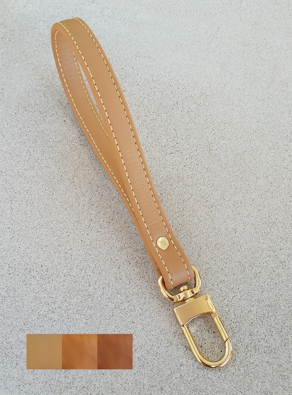 Tan Leather Wrist Strap With Yellow Stitching Choose