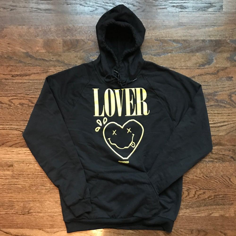 "Image of The ""Lover - Smiley Heart"" Hoodie in Black"