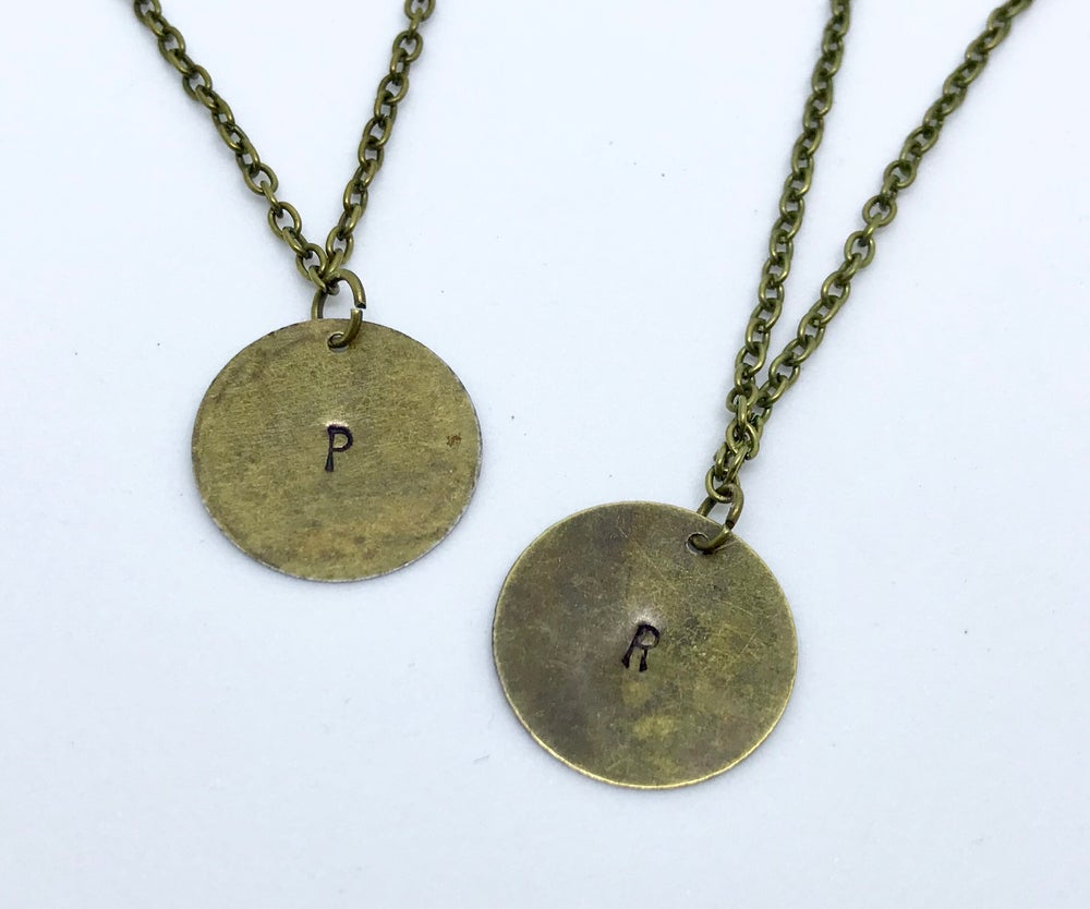 Image of Initial Disc Necklace (with heart or without)