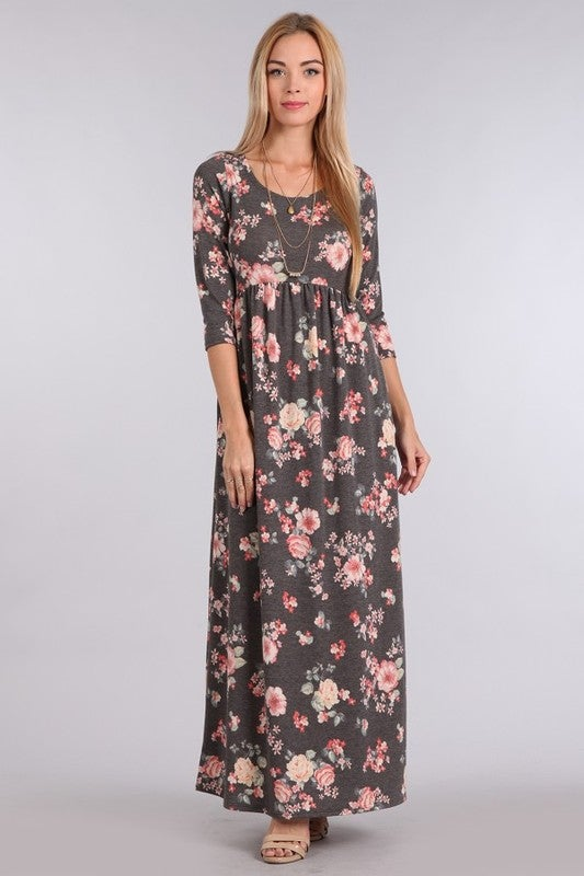 Image of Charcoal Floral Maxi Dress | S-L