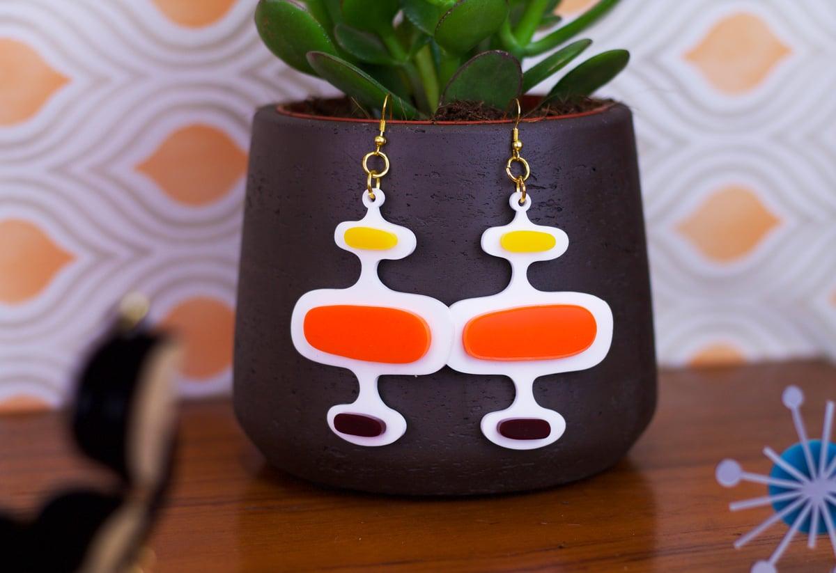 Image of Mid Century Modern Oval Pattern Earrings