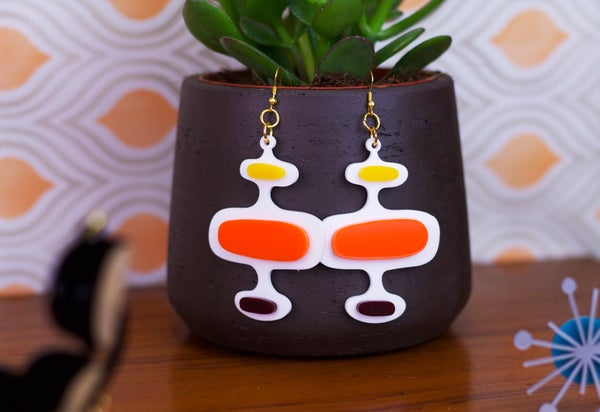 Mid Century Modern Oval Pattern Earrings - Black Heart Creatives