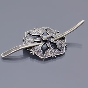 Image of Sterling Silver Luna Moth and Moonstone Shawl Pin