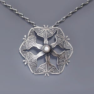 Image of Sterling Silver Luna Moth and Moonstone Necklace