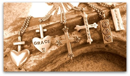 """Image of """"Blessed"""" mini-pendant (Right in photo)"""