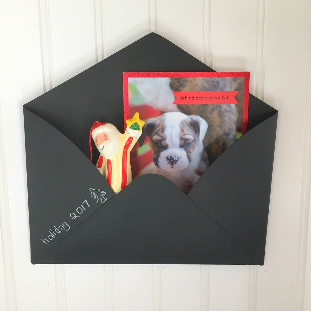 Holiday Cards Chalkboard Envelope Metal Wall Mail Holder Inkaarten