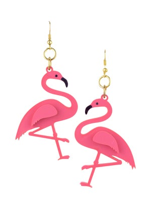 Flamingo Drop Earrings (Coral or Baby Pink) - Black Heart Creatives
