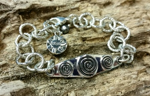 "Image of ""Bless this Woman"" Pewter Link-Style Bracelet"
