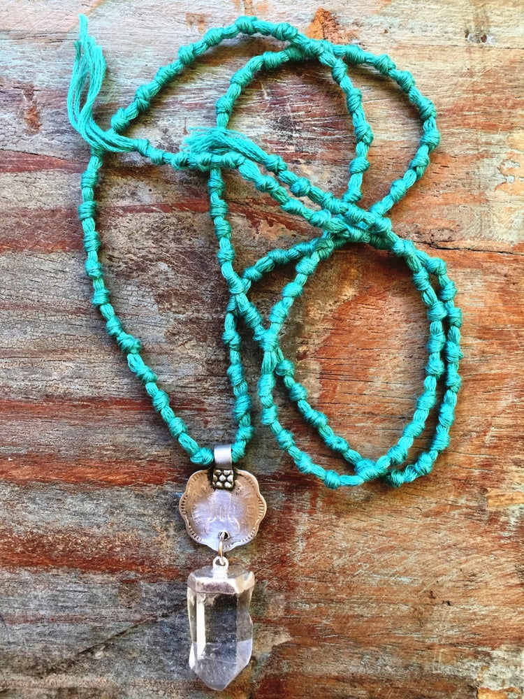 Image of Knotted mala coin quartz necklace