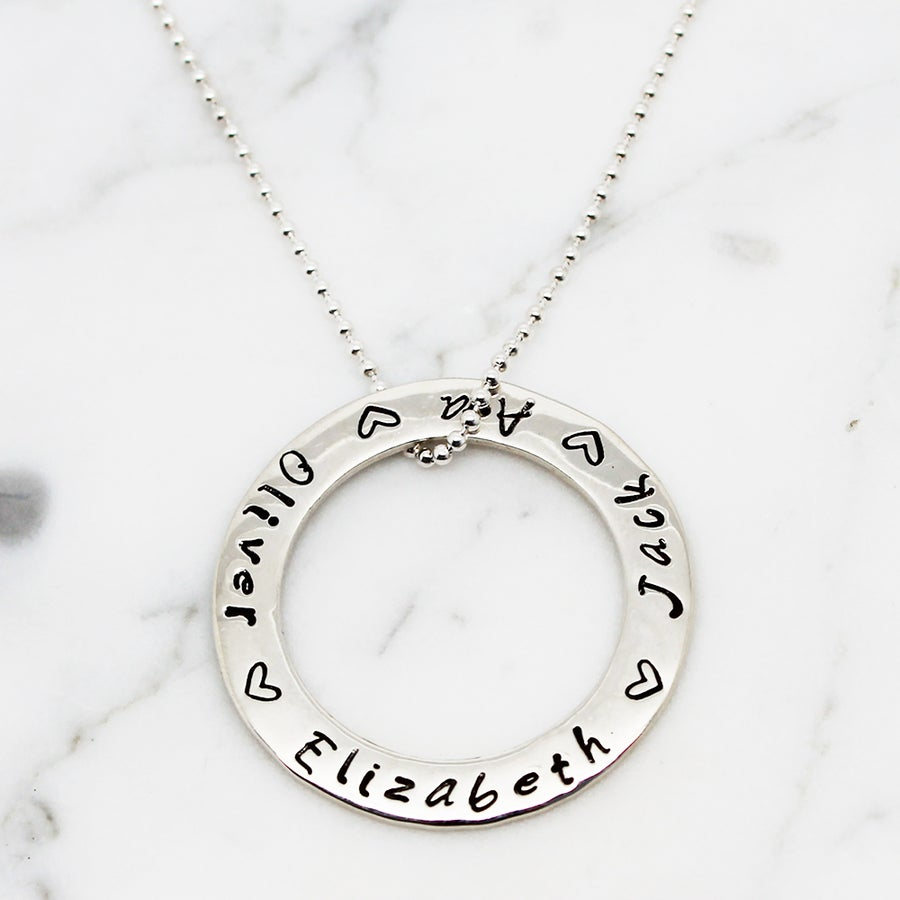 Image of Personalised Large Circle of Love Necklace