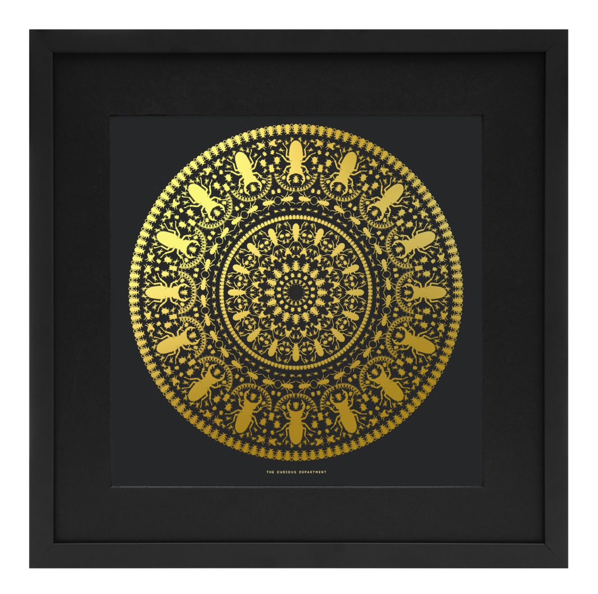 Image of insect mandala print - black