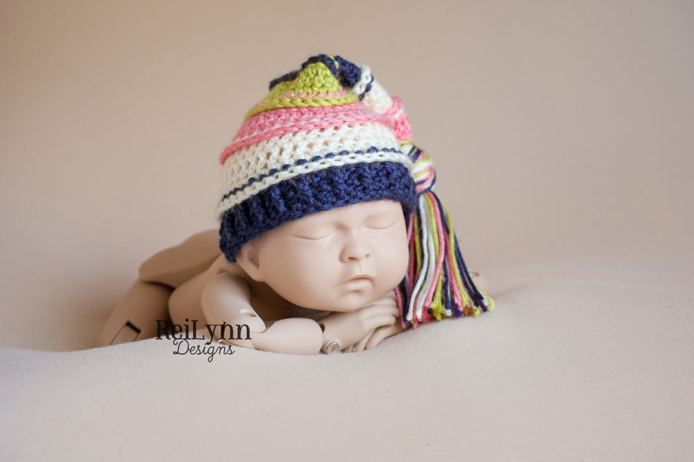 Image of Coral, Ivory, Navy and Chartreuse Tassel Hat